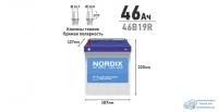 Аккумулятор Nordix 46B19R, 46Ач, CCA 370А, необслуживаемый