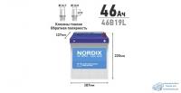 Аккумулятор Nordix 46B19L, 46Ач, CCA 370А, необслуживаемый