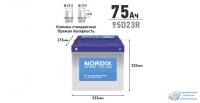 Аккумулятор Nordix 95D23R, 75Ач, CCA 650А, необслуживаемый