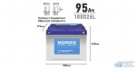 Аккумулятор Nordix 100D26L, 95Ач, CCA 730А, необслуживаемый