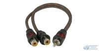 Коаксиальный RCA Y-кабель AURA, витая пара с никелированными коннекторами, ПВХ изоляция,1 папа/2 мамы, длина 0,2 метра