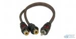 Коаксиальный RCA Y-кабель AURA, витая пара с никелированными коннекторами, ПВХ изоляция,1 папа/2 мамы, длина 0,2 метра 2 шт. в упак.
