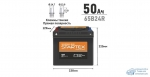 Аккумулятор Startex 65B24R, 50Ач, CCA 470А, необслуживаемый