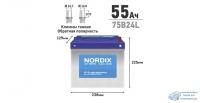 Аккумулятор Nordix 75B24L, 55Ач, CCA 520А, необслуживаемый
