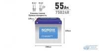 Аккумулятор Nordix 75B24R, 55Ач, CCA 520А, необслуживаемый